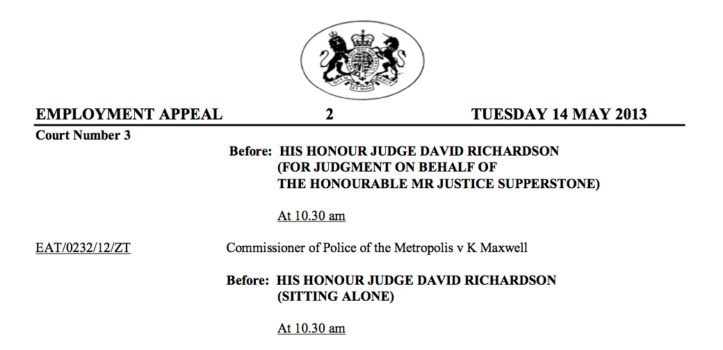 Employment Appeal Court Judgment