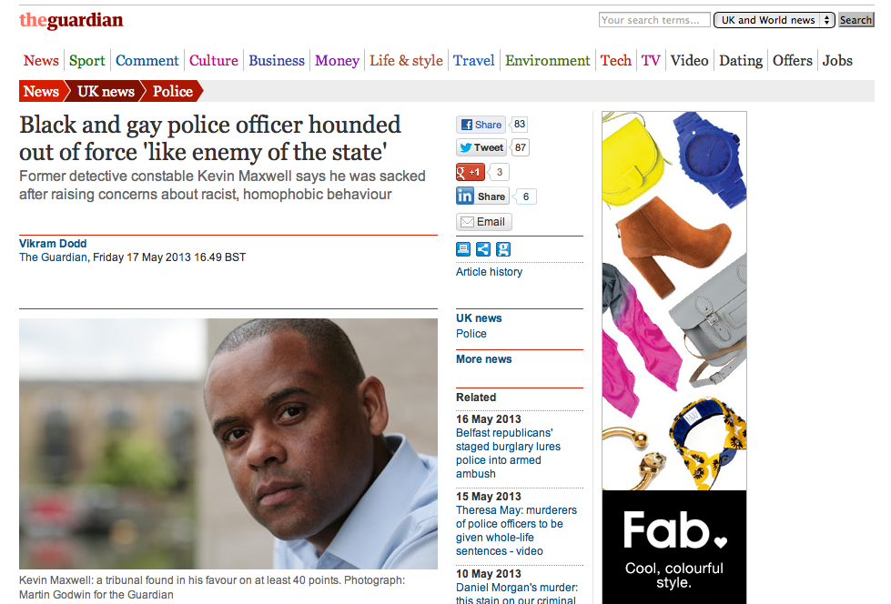 Black and gay police officer hounded out of force 'like enemy of the state'