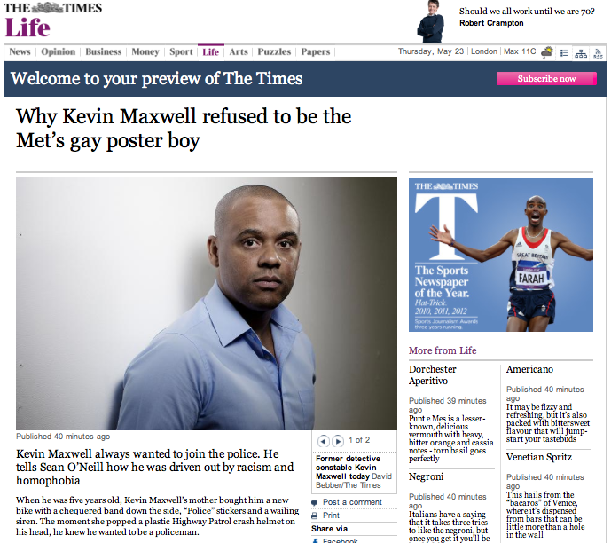 Why Kevin Maxwell refused to be a gay poster boy for the police